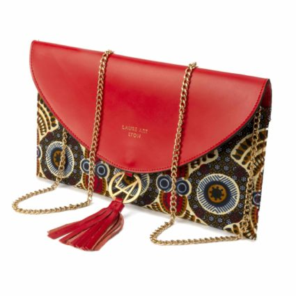 Pochette Wax & Cuir Rouge - LAURE ART